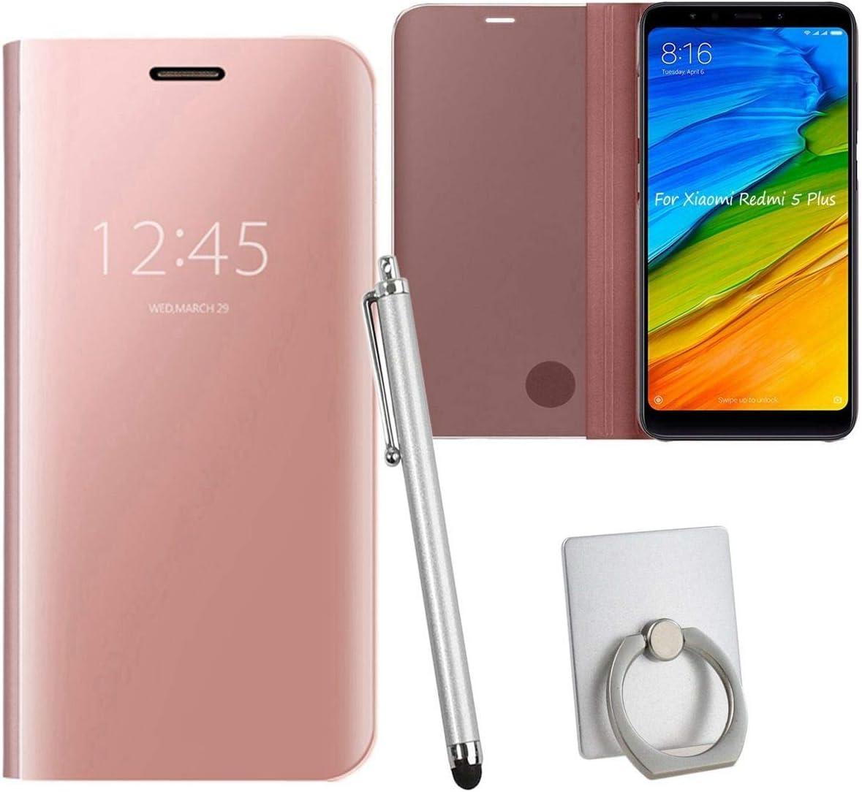 Sangrl Funda para Xiaomi Redmi 5 Plus, Ultra Delgada Shock Caja Espejo Espejo Translúcido Case Funda para Xiaomi Redmi 5 Plus - Rose Gold