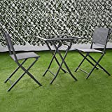Giantex 3 Pcs Bistro Set Garden Backyard Table Chairs Outdoor Patio Furniture Folding