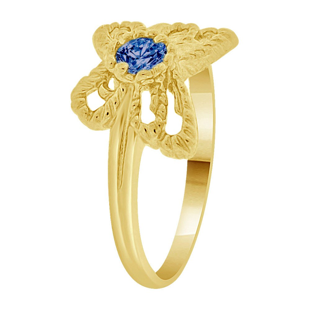Mini Size Child or Adult Pinky Ring Created Blue CZ Butterfly Design 14k Yellow Gold