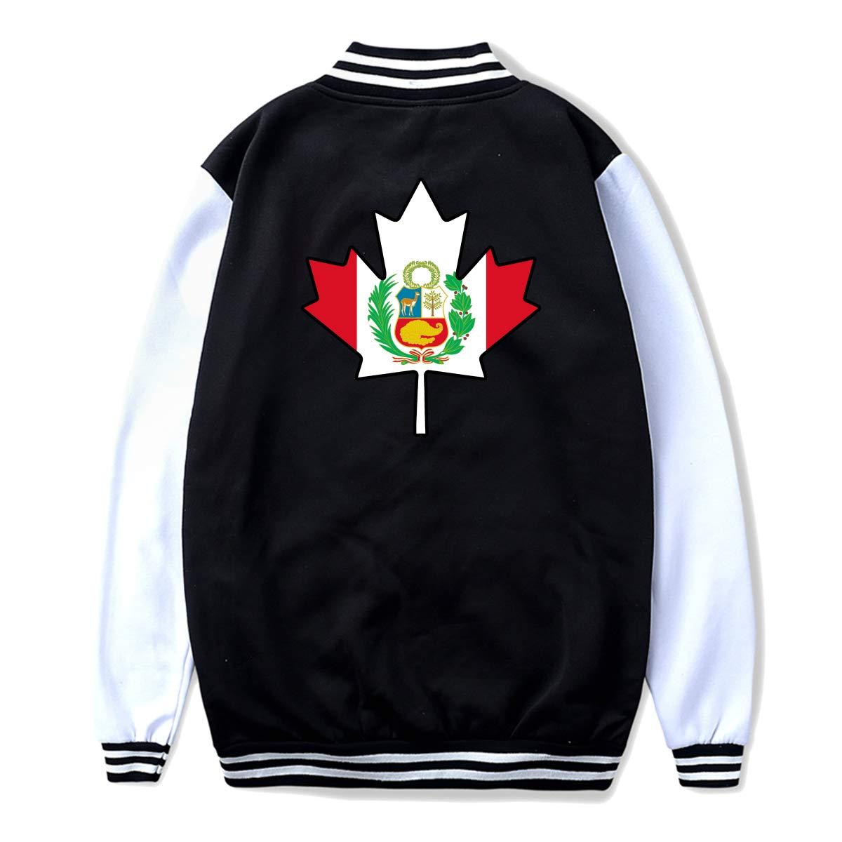 Back Print Unisex Youth Baseball Uniform Jacket Peru Flag Canada Maple Leaf Coat Sport Outfit
