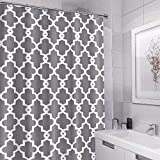72x72 Inch Polyester Fabric Morden Concise Geometric Pattern of White linellae Shower Curtain Bathroom Decoration with 12 Hooks Grey