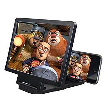 Pantalla Ampliadora, Pantalla de lupa plegable en 3D para teléfono móvil Película de video Amplificador de pantalla Protege los ojos con el soporte (Negro): ...
