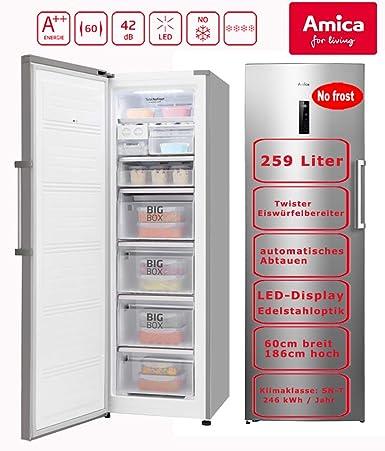 Amica XL Congelador NoFrost a + + 259L aspecto de acero inoxidable ...
