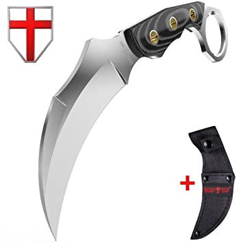Fixed Blade Karambit Knife With Mikarta Handle   Sickle Blade   Best Fix  For Survival