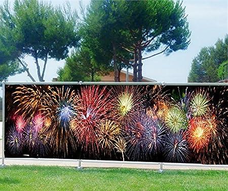 StickersNews Ocultación (Imprimé, jardín, terraza, balcón Déco diseño D Fuegos Artificiales, poliéster, 100%, 180 x 70 cm: Amazon.es: Hogar