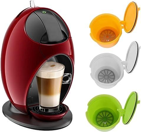 ALLOMN Dolce Gusto cápsulas de café reutilizables para Nescafe Genius Small Expert Circle 3 Pack (amarillo + verde + blanco): Amazon.es: Hogar