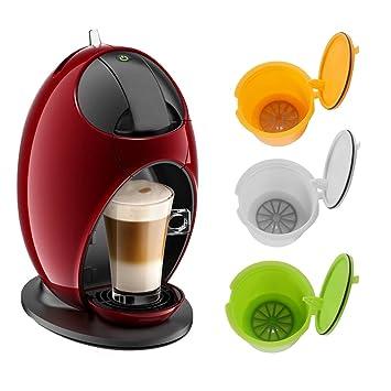 ALLOMN BPA recargable gratis para Dolce Gusto cápsulas de café reutilizables para Nescafe Genius Small Expert Circle 3 Pack (amarillo + verde + blanco): ...