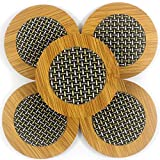 Zoohot Heat-resistant Carbonized Bamboo and Fiber Stitching Round Coaster,Set of 8