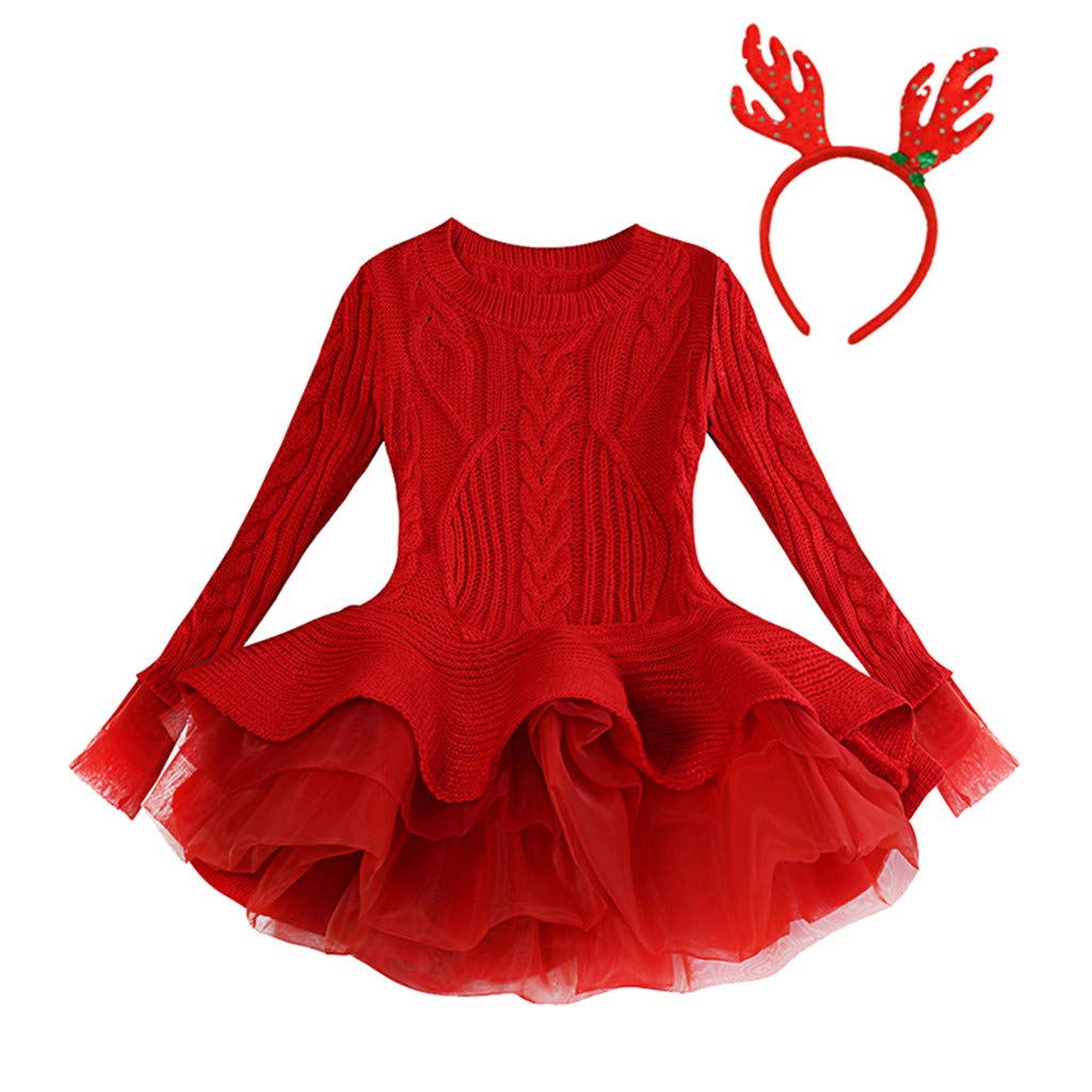 Kids Girls Knit Dress Toddler Christmas Solid Warm Sweater One Piece Tutu Sun Dress Hairband Outfits (Age:5-6 Years, Red) by FDSD Baby Clothes