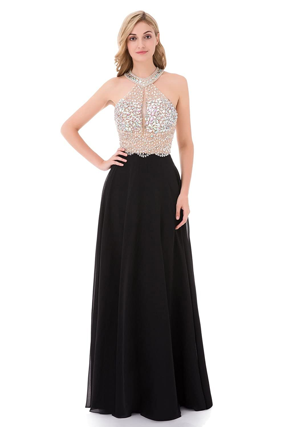 Amazon.com  YuNuo Sparkly Crystal Beading Prom Dresses Long 2019 Sexy Open  Back Party Ball Gown Scoop Bridesmaid Dresses…  Clothing 6f2cdd522052