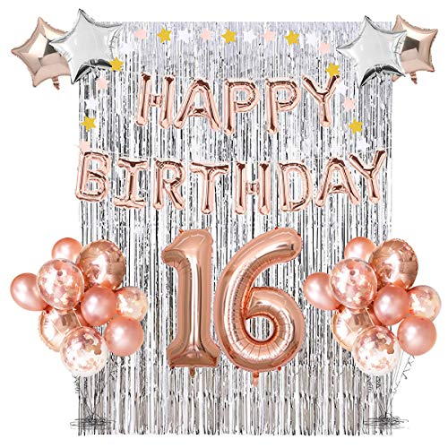 16th Birthday Party Decorations Kit - Assorted Rose Gold Mylar Balloons, Banner, Confetti, Stars, Garland & Silver Foil Curtain Decor | Complete Happy Sweet Sixteen B-day Prop Supplies for Girls  (Roses 18 Assorted)