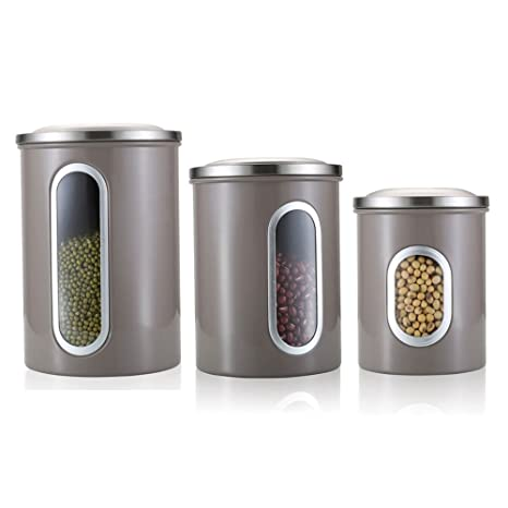 Peachy Airtight Canister Set Of 3 With Stainless Steel Lids And See Through Windows H Lux Nested Kitchen Canisters Brown Grey Best Image Libraries Thycampuscom