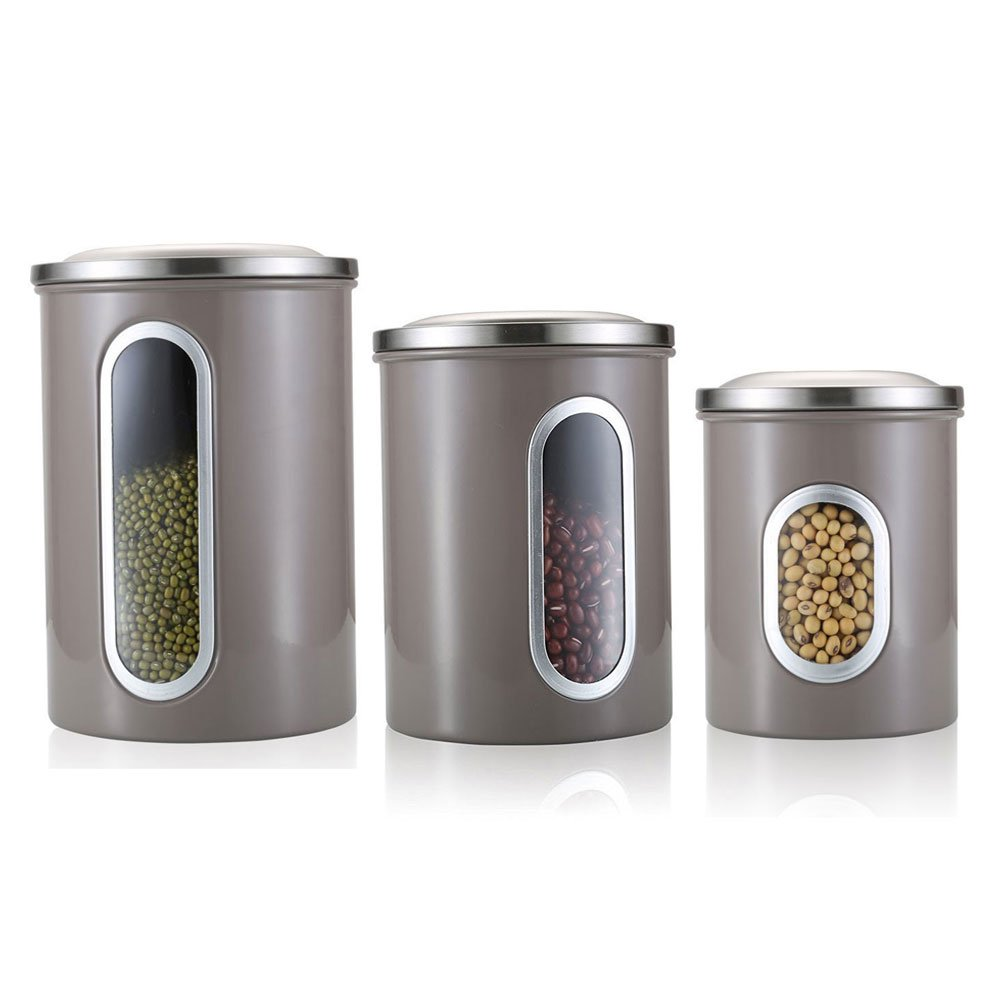 Kitchen Canisters Set,3 Piece Stainless Steel Canister Set,Nested Food Storage Canisters with Airtight Lids and Clear Windows,Red