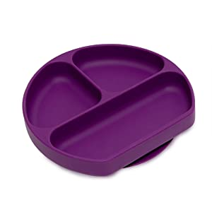 Silicone Grip Dish, Suction Plate, Divided Plate, Baby and Toddler, BPA Free, Microwave and Dishwasher Safe – Purple