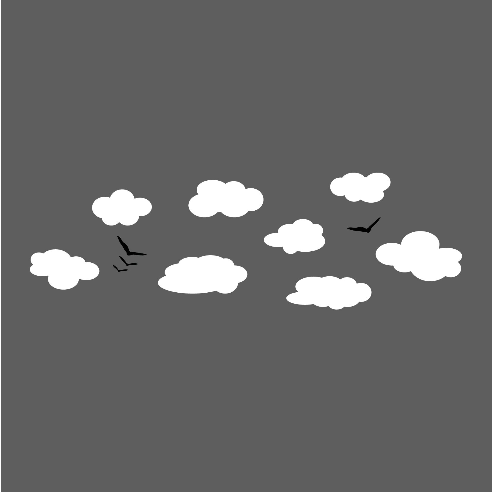 Clouds and Birds - Vinyl Wall Art Decal for Homes, Offices, Kids Rooms, Nurseries, Schools, High Schools, Colleges, Universities, Interior Designers, Architects, Remodelers