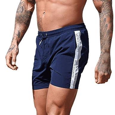 Hombres Pantalones Cortos Deporte Casuales Rayas Pantalón Chandal ...