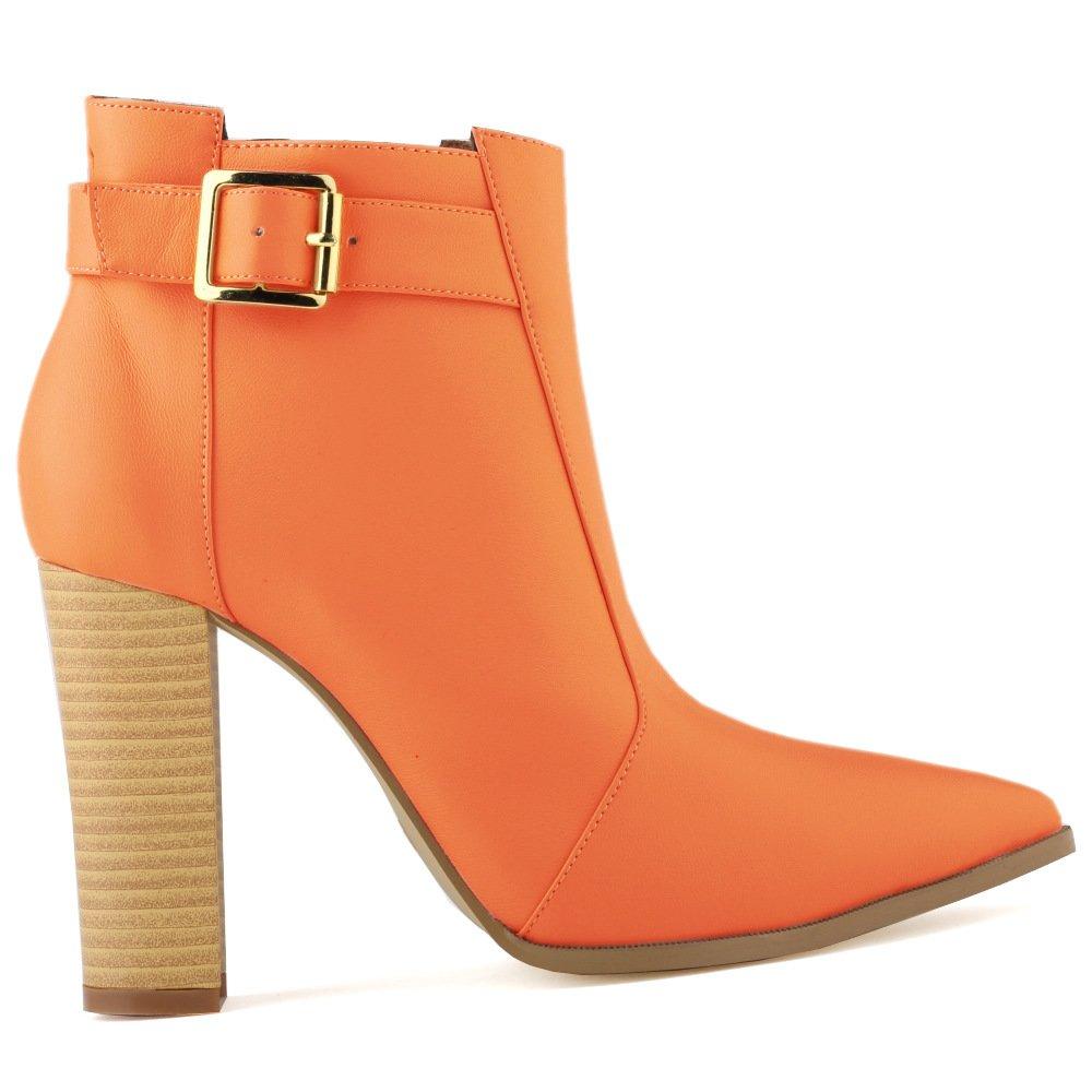 DYF Schuhe rauhe Stiefel Hohe rauhe Schuhe Ferse Holzmaserung schnalle riemen Hochwertige Europäische, Orange Matt, 38 ca37f4