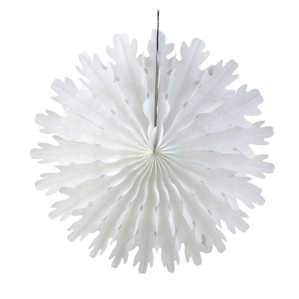SUNBEAUTY 14 Christmas Snowflake Paper Fan White Pack of 10 LTD