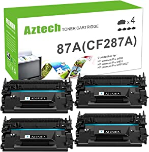Aztech Compatible Toner Cartridge Replacement for HP 87A CF287A 87X CF287X Laserjet Enterprise M506 M506dn M506n M506x M527dn Laserjet Pro M501dn (Black, 4-Packs)