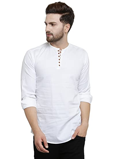 785cd0d5e16 Pacman White Kurta Styled Slim Fit Smart Mens Casual Shirt SHFS0047  Amazon. in  Clothing   Accessories