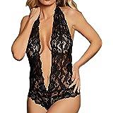 Lingerie for Women for Sex Lace Deep V Halter Bodysuit One Piece Babydoll Teddy Nightie Underwear