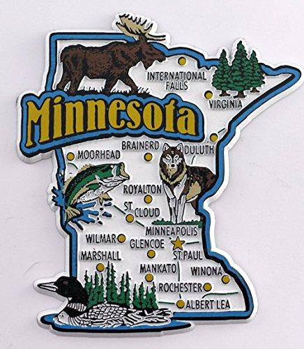 Minnesota State mapa y monumentos Collage imán para nevera ...