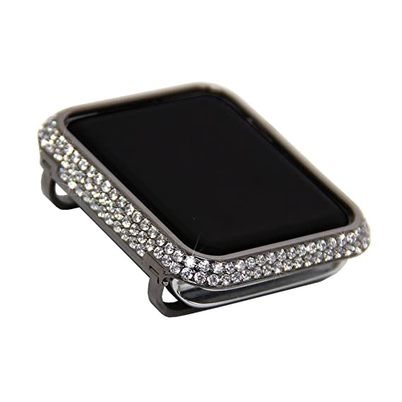 detailed pictures 28fff 6a6b5 iRepair Crystal Diamond Rhinestone Jewelry Metal Case Bling Bezel Cover  Compatible Apple Watch Series 3 Series 2 Series 1 Sport,Nike Edition- Gray  ...