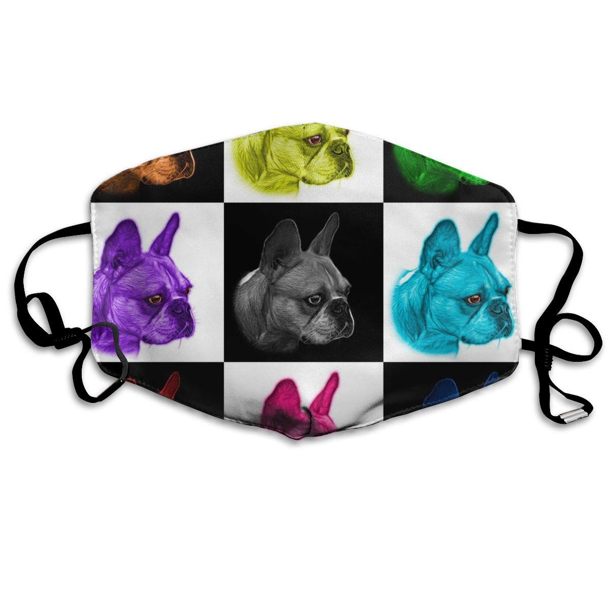 Mouth Mask Mosaic French Bulldog Fashion Earloop Face Mask For Kids Teens Men Women Winter Summer