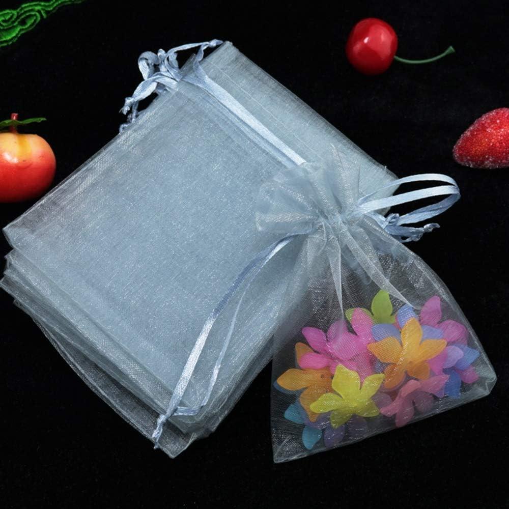 CZSM 100pcs Organza Cordon sachets Bijoux Cadeau Sacs pour Bonbons Noce Sacs de faveur de no/ël,Beige,5x7cm