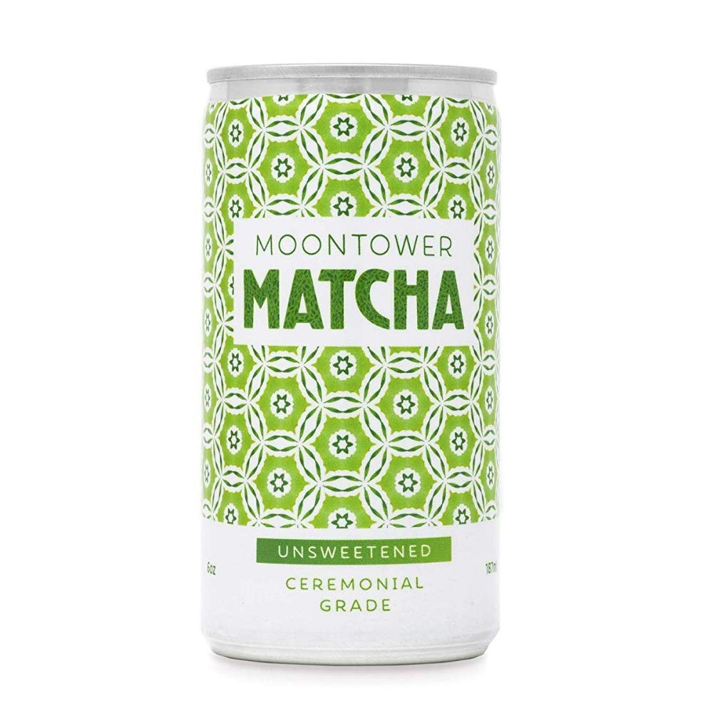 Moontower Matcha Green Tea, Ceremonial Grade Japanese Matcha Tea, Canned & Ready to Drink, Unsweetened, 6 Ounce Cans, 12 Pack