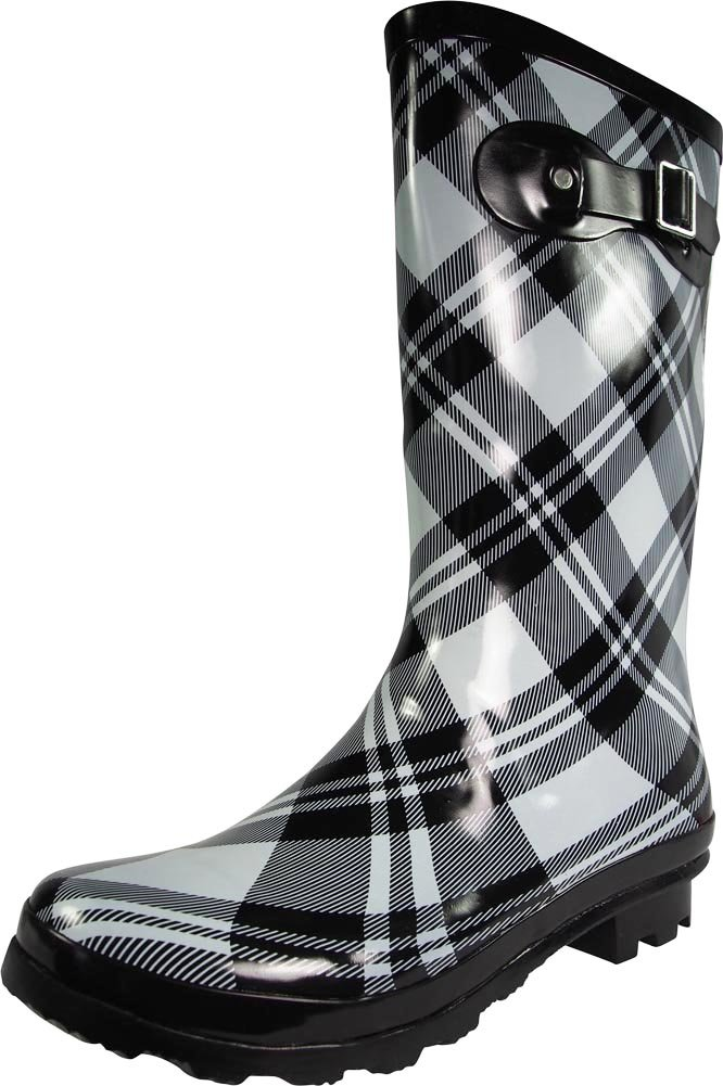 NORTY Womens Hurricane Wellie Gloss Mid-Calf Plaid Print Rain Boot, Black, Light Grey 39204-9B(M) US