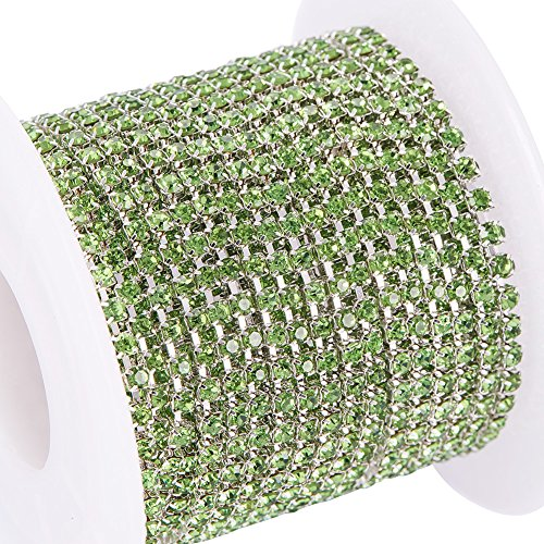 Green Crystal Chain - BENECREAT 10 Yard Crystal Rhinestone Close Chain Clear Trimming Claw Chain Sewing Craft about 2880pcs Rhinestones, 2mm - Green (Silver Bottom)