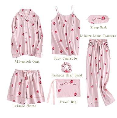 e66f990c0af9 Miss Fairy Women s Printed Long Sleeve Pajamas Soft Cute Cotton PJ Set Pink  Strawberry S