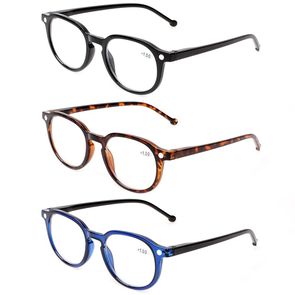 READING GLASSES 3 Pair Retro Round Spring Hinged Readers Great Value Quality Glasses for Reading (3 Pack Mix Color, 1.50)