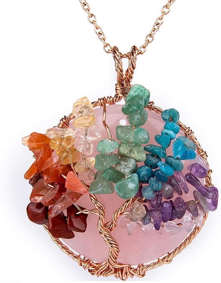 NICEWL Collar de Árbol de La Vida de Chakra de Amatistas,Envoltura de Alambre de Piedras Preciosas Naturales,Gargantilla con Colgante Redondo de Cristal Curativo para Mujer,D