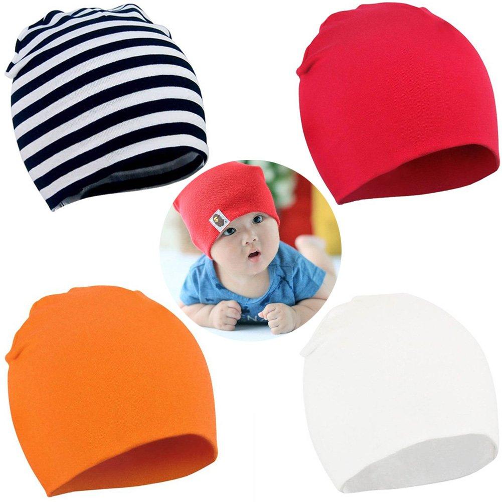 YJWAN Toddler Infant Baby Beanie Soft Cute Cotton Unisex Lovely Boy Girl Knit Cap Hat, S(0-6M), B 4 Pack
