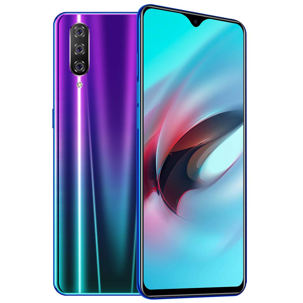 Unlocked Smartphone, Eight Core 6.3 inch Water Screen Four HD Camera 1+16GB Android 9.1 Drop Touch Screen WiFi Dual Sim Unlocked Cell Phones (Purple)
