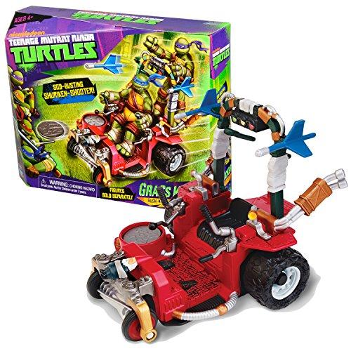 Playmates Year 2013 Teenage Mutant Ninja Turtles TMNT Vehicle Set : Bush-Whacking Wheeled Weapon GRASS KICKER with Shuriken Discs & Finger Flick Darts