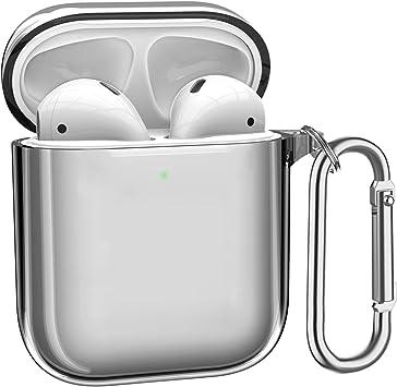 ATUMTEK Funda AirPods, Funda de TPU Protectora para AirPods Cristalina y Compatible con Estuche de Carga Inalámbrica de Apple con Mosquetón/Llavero [Led Visible] [Antichoque]: Amazon.es: Electrónica