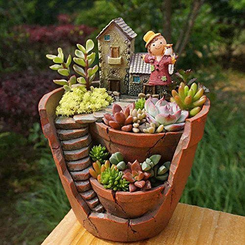 Plant Pot, Hgrope Mini Size Creative Fairy Garden Plant Containers, Hanging Garden Design with Sweet House for Flowers and Plants by Hgrope (Image #4)