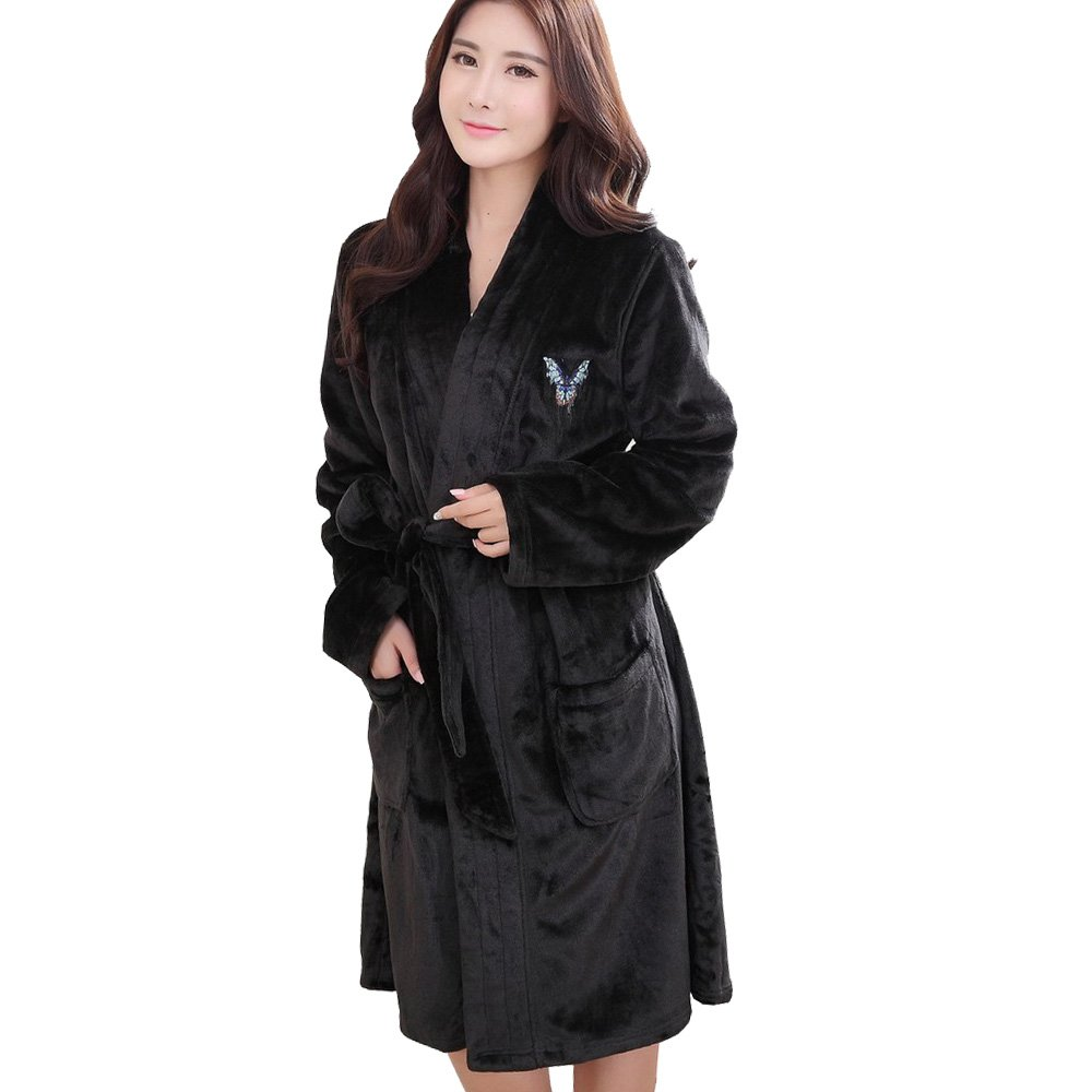 31cbc3fbed Amazon.com  Ladies Flannel Warm Supersoft Fleece Shawl Collar Robe Pajamas   Clothing