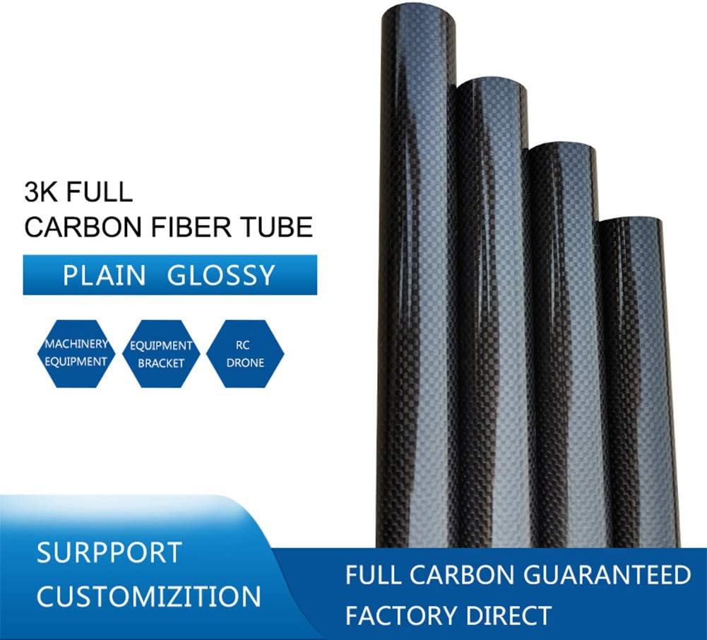 WSabc Carbon Fiber Round Tube Raw Materials DIY Tools Plain Weave Glossy Pack of 5 pcs,OD 25mm ID 22mm