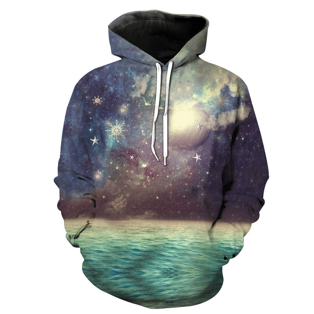 Unisex 3D Print Shocking Sky Planet Pattern Slim Stylish Hoodies