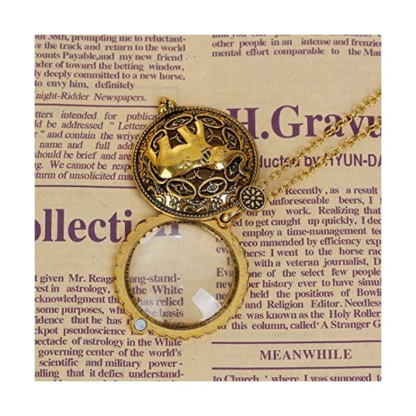 JGFinds Magnifying Glass Necklace Gold Tone Steampunk, 5X Eyeglass Magification 4