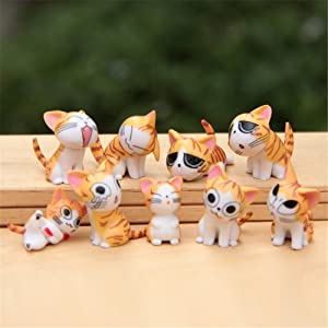 Kimkoala Chi Cat Toys, 9 Pcs Japanese Cute Chi's Sweet Home Cats Dolls Animal Figures Collection Toy Set for Miniature Garden Decoration(Yellow)