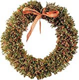 Alpine Corporation CIM170HH 16'' Rattan Christmas Wreath with 20 LED Lights