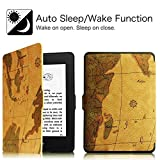 Premium (Retro WORLD-MAP) SmartShell Lightest Thinnest Protective PU Leather Case with (Auto Wake/Sleep) Folio Flip Case Flip Cover for Amazon Kindle Paperwhite 2012 , 2013 , 2014 , 2015 , 2016 New 300 PPI Flip Cover Flip Case (Map - Brown)