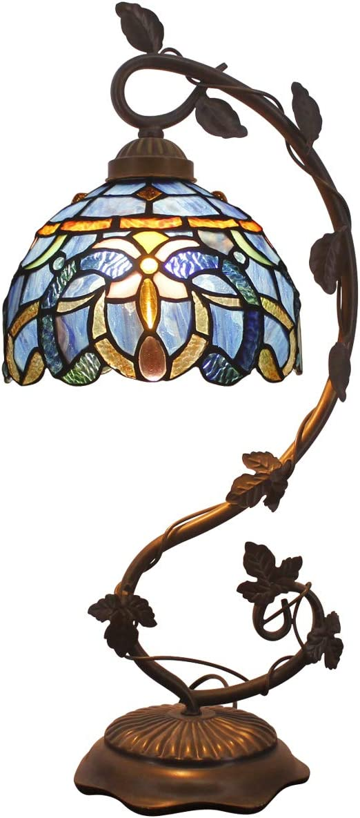 Tiffany Lamps Blue Purple Clouldy Stained Glass Table Desk Reading Lamp tyle Shade W8H22 Inch for Living Room Bedroom Bookcase Dresser Coffee Table S558 WERFACTORY