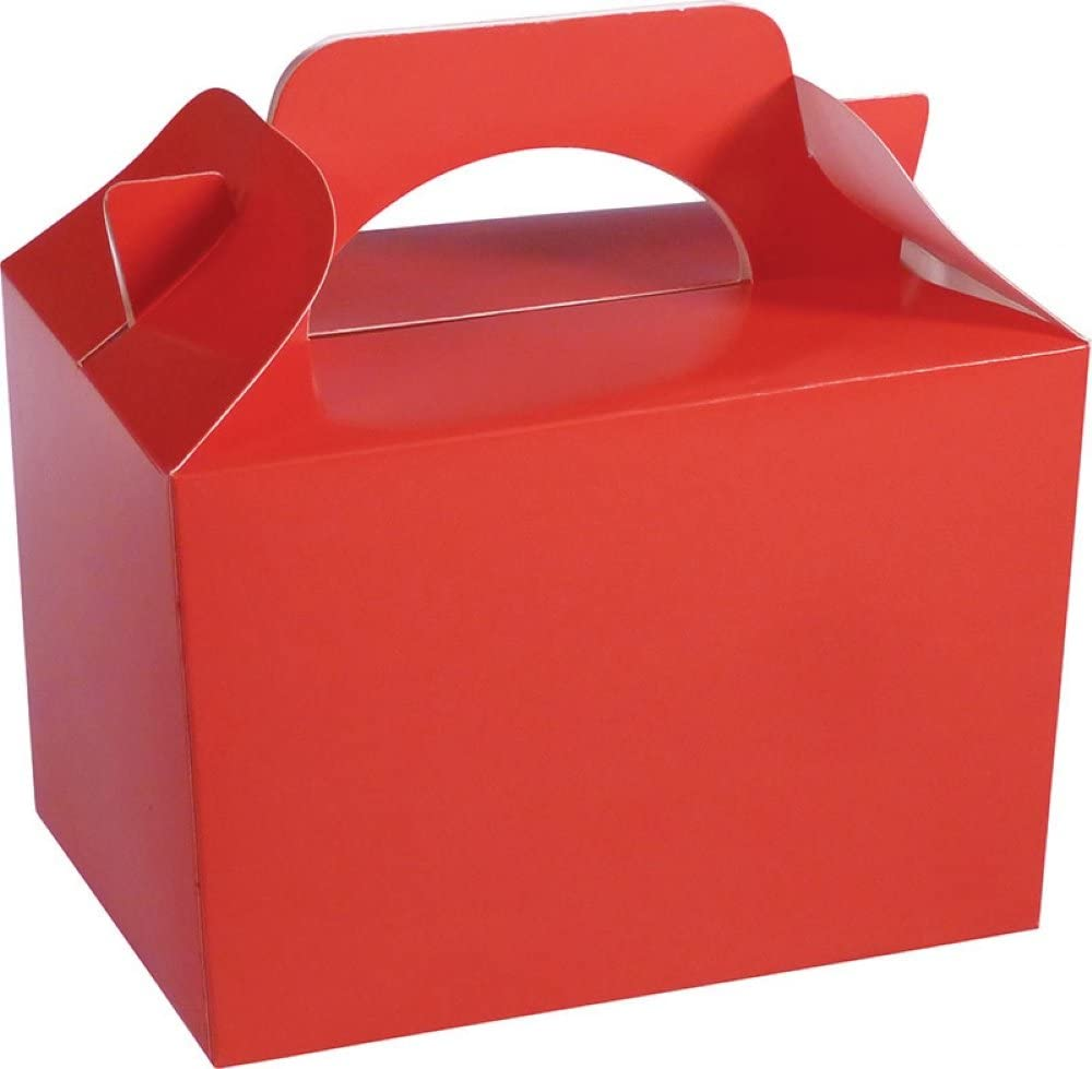 Diamante Crafts 10 x Plain Red Party Lunch Boxes