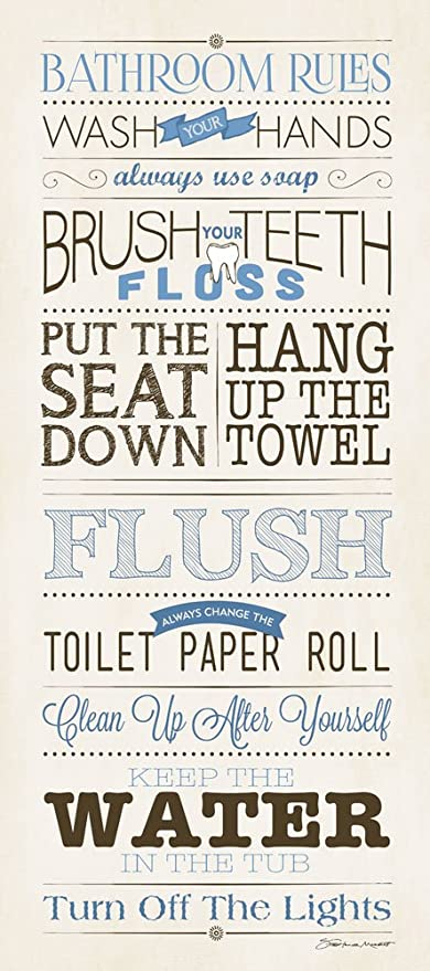 Bathroom Rules Cream 8x18 Inspirational Art Print Decorative Bath Wall  Poster